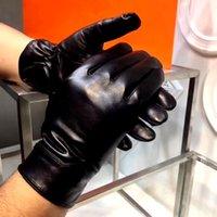 Wholesale Goatskin Gloves - A01HEMS - 2017 New Brand Genuine Gloves Fashion Warm Winter men's Black Gloves Goatskin Mittens XL,XXL