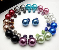 Wholesale Rhinestone Ball Plug - 30pieces(15Pairs) X Celebrity Runway Double Pearl Clay Crystal Beads Shamballa Ball Plug Earrings Ear Studs Pin 004