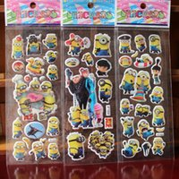 lehrer belohnung aufkleber großhandel-% 10 Sheets / lot 3d Cartoon Schergen Film Kinder Aufkleber Spielzeug Blase Aufkleber Lehrer schöne Belohnung Aufkleber Kinder Geschenk Klebstoff