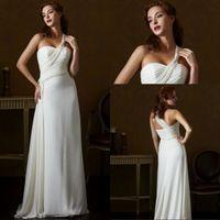 Wholesale Bridal 99 - Beach Style A Line One Shoulder Beach Style Beach Wedding Dress Pleated Garden Low Price Cheap Bridal Dress Under 99$