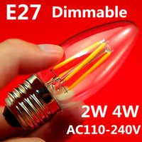 Wholesale e12 dimmable candle bulbs resale online - 100pcs W W Cob Filament Led Candle Light Bulb Lamp V V B22 E27 E14 E12 Dimmable Led Bulb Warm White