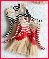 Wholesale Sequin Collar Pleated Dress Girls - Autumn chiristmas tutu children girls sequin dress vivi dress girls red and white striped tutu dress long sleeve sequins collar girls lace d