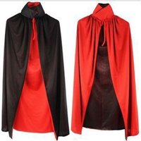 Wholesale long black cape hooded - New Hooded Cloak Halloween Black Long Cape Death Vampire Unisex Adult Party Club Costume