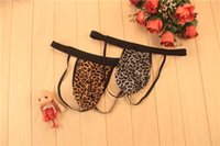 Мужчины Gay Sexy Мужское нижнее белье Leopard Open Back G-String Lingerie Panties T-Back Jockstraps Penis Pouch 10pcs / lot Розничная сумка