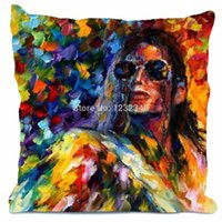Wholesale Michael Jackson Pillowcase - Michael Jackson Painting Style throw Pillowcase Custom18x18 Inch (Twin Sides)Home Car Cushion Cover
