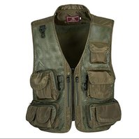 Men outdoor vests - Summer Outdoor Tactical Camping Mesh Vest Men multi pocket Hunting Hiking Vest Sport Photographer Waistcoat Sleeveless Jacket