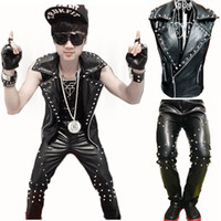 Wholesale Leather Motorcycle Vest Jacket - CooL Men Gothique Punk Rock Leather Motorcycle Vest Sleeveless Rivet Jacket Coat and Pants Singer Dancer Performance Costumes