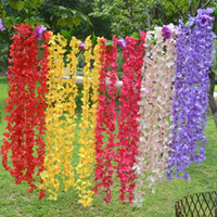 Wholesale Simulation Flower Pink - Artificial Flowers Wedding Decorations Silk Flowers Simulation Flower Vines String Rhododendron Vine Wedding Party Props 1.8M