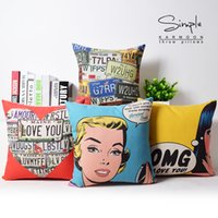 Wholesale sofa pillow pop art - 4 Styles American POP Art Cushion Covers OMG I LOVE YOU Cushion Cover Sofa Throw Decorative Linen Pillow Case