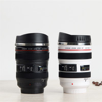 Wholesale Camera Drink - Creative Coffee Mugs Outdoor Travel Portable Water Bottles SLR Camera Lens Cup With Lid Novelty Gifts 14fx C R