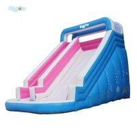 Wholesale Pvc Material Suppliers - Free Shipping Professional Supplier Inflatable Slide With Pool PVC Tarpaulin Material Air Inflated Trampoline Jumping Slide