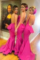 gelinler hizmetçi balo elbiseleri toptan satış-Toptan Fuschia Seksi Mermaid Genç Gelinlik Modelleri Uzun Backless Düğün Törenlerinde Gelinler Hizmetçi Onur Elbise Custom Made Balo Elbise
