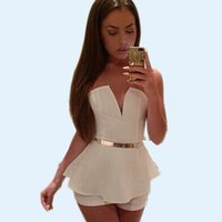 Wholesale Sexy Jumpsuit Cocktail - Sexy Women Ruffles Strapless Jumpsuit Black White V-Neck Backless Short Jumpsuit Sleeveless Peplum Party Cocktail Dress ZSJG1108