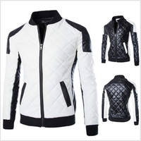 Wholesale mens black suede jacket xl - Wholesale- New Fashion PU Leather Jacket Men Black White Solid Mens Faux Fur Coats Trend Slim Fit Youth Motorcycle Suede Jacket Male