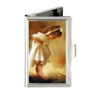 Wholesale Korean Ladies Images - Beautiful image The little girl flowers Custom Design Unique Business Card Holder Pocket Wallet Name ID Credit Case Stainless Steel Box Case