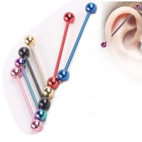 Wholesale Industrial Tongue Piercings - 50pcs lot wholesale mix color stainless steel ear piercing industrial barbell fake ear gauges piercing tragus cartilage earring
