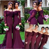 Wholesale maroon lace mermaid dress resale online - 2019 Cheap Burgundy Maroon Beads Mermaid Bridesmaid Dresses Off Shoulder Long Sleeve Lace Applique Maid of Honor Gowns Custom Made