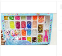 Wholesale Christmas Rubber Band Loom Kits - 2014 HOT Christmas Frozen Rainbow Loom Bands Fun DIY Loom Rubber Kit Colorful Bracelets Charm Bracelet For Children Toy Gift multicolor 376