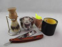Wholesale Barber Bowl - Straight razor shaivng set Stainless Steel Barber Razor shaver Folding Shaving Knife ,stand small bowl ,5 pcs set FREE SHIP