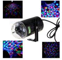 sesli etkinleştirilen lazer parti ışıkları toptan satış-3 W RGB Tam Renkli Otomatik Dönen Lamba Ses aktive Kristal Sihirli Topu Lazer Sahne Işık için Parti Disko DJ Bar Ampul KTV Aydınlatma Gösterisi