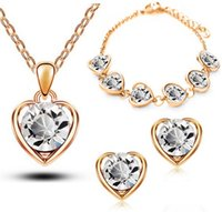Wholesale Crystal Act - Wholesale-2015 Gold Jewelry Sets Heart Elements Of Austrian Crystal Act Silver Jewelry Heart Necklace With Rhinestone Heart silver jewelry
