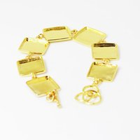 Wholesale Square Plates Bulk - Beadsnice bulk lot bracelets resin bracelet blank 17mm square bezel bracelet gold plated brass with 7 blanks cabochon bracelet ID 11039
