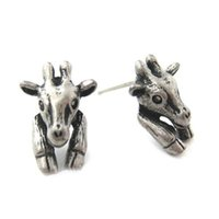 10pcs / lot Faux animal plug Stud atacado New Baby Giraffe realístico animal brincos em Anique Prata e Bronze S103