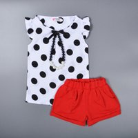 Wholesale Necklace Shirt Girls - Retail baby girls chiffon suits 2015 summer pearl necklace polka dot shirt+red shorts children 2pcs sets korean style kids clothing 201507HX