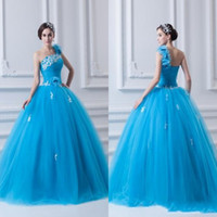 Wholesale Blue One Shoulder Ball Gown Pageant Dresses Hot Ruffles Flower Featured Flower Length Custom made Evening Prom Gowns