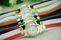 Hot Style Rivet Diamond Colored Bead Leather Wrap reloj pulsera de cuarzo reloj