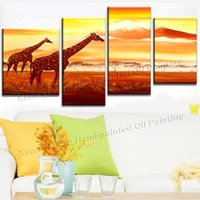 Wholesale Sun Painting Modern Art - Hand-painted Wall Art African Forest The Giraffe Sun Home Decoration Modern Abstract Landscape Oil Painting On Canvas