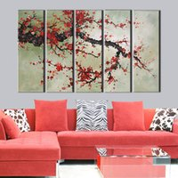 Wholesale Handpainted Huge Wall Art Large - Free shipping large canvas painting wall pictures wall art red Plum flower canvas art home decor Modern Huge Pictures 5 pieces
