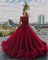 seksi kabarık gece elbiseleri toptan satış-Lüks Kabarık Kırmızı Çiçek Balo Resmi Elbiseler 2018 Liastublla Tasarım Dantel Tutu Tam boy Prenses Durum Abiye giyim Giymek