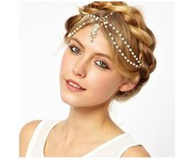 Wholesale Hair Accessories Fashion pearl beaded crystal charms head bands women jewelry Wedding bridal Crown hair jewelry TOP1208