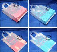 Wholesale Garment Zippers Bags - 50pcs 32*40cm Flower bags garment bags gift transparent handle package beautiful thick plastic bag for coat trousers