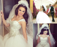 Wholesale Princess Castles - 2016 Princess Wedding Ball Gowns Sweetheart With Straps Crystal Beaded Wedding Dresses Lace-up Chapel Train Bridal Gowns