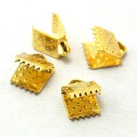 Wholesale Metal Crimp Ends - 1200pcs -6mm Metal Over Clip Cord Crimp End Bead Cap Gold Rhodium Antique Bronze Plated U-Pick Color Fit Necklace Bracelet Jewelry DH-FKG001