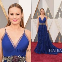 Wholesale Oscar Crystal Dresses - 2016 Oscars 88th Brie Larson Formal Celebrity Evening Dresses Stunning Royal Blue Crystal Sash Ruffled Long Evening Gowns Prom Party Dresses