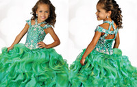 Wholesale Children Dance Images - 2015 Ritzee Girls Ball gowns Little Girls Pageant Dresses 6681 Green Long Beads Halter Party Kids Children Dance Dress