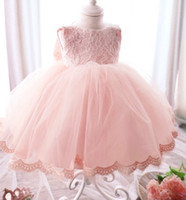 Wholesale Girls Tutu Pageant Dresses - Children's day party dress Girl Dresses Ball Gown Pink Lace bow Princess Dress for Wedding Party Pageant Toddler kids birthday dress A5764