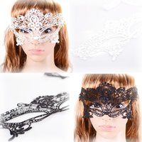 Gros-4pcs / lot Costume Party Halloween décoration dame sexy découpe dentelle oeil masquer Cosplay Noir / Blanc / Rouge mascarade masques