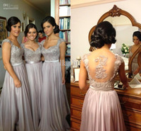 Wholesale Cheapest Sequin Long Dress - 2016 Silver chiffon lace Custom made New Cheapest cap sleeves long Bridesmaid Dresses formal dresses with free ribbon Bohemian Style
