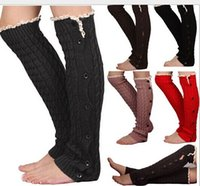 Acrylic black slouchy boots - 2015 Newest Slouchy Button Down leg warmers Knit Lace shark tank Legwarmers Boot Cuffs lace trim gaiters Boot Socks Crochet
