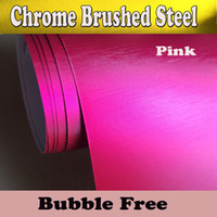 Wholesale Hot Air Brushes - Hot Pink Chrome Brushed Steel Vinyl Wraps with air release Chrome brushed Alumium Sticker Film Car Tuning Wrapping :1.52*20M Roll 5x66ft