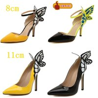 Wholesale Sexy Blue Prom Shoes - Celeb Style 8CM Yellow Butterfly Pointed Toe Pumps Sexy High Heels Ladies Prom Down Party Shoes EU 35 to 41