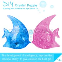 Wholesale Wholesale Tuna Free Shipping - Wholesale-Free shipping 3d three-dimensional crystal puzzle diy toy building assembled intelligence wholesale LED LIGHT tuna