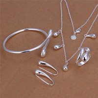 Wholesale 925 Sterling Ring Price - Factory price 925 sterling silver plated water drop necklace & earrings & bangles & Rings Fashion Jewelry Set wedding gift free shipping