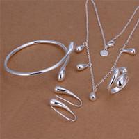 price wedding rings sets al por mayor-Precio de fábrica 925 plata esterlina gota de agua collar pendientes brazaletes anillos de joyería de moda conjunto de regalo de boda envío gratis