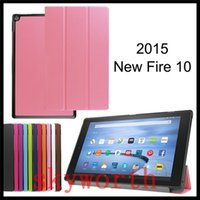 Wholesale Ebook Amazon - For Amazon Kindle Fire HD7 HD8 HD10 2015 3 folder leather case stand Ultra Slim Smart Leather Cover ebook Cases
