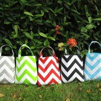 kumaş kutuları toptan satış-Chevron Çöp Kutusu Toptan Boşlukları Kumaş Aksesuar Tutucu Tote Çocuk Seyahat Çantası 5 renkler DOM106065